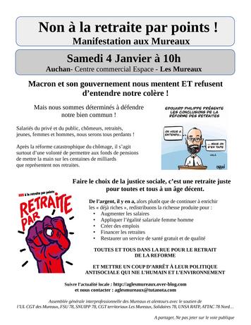 4 Janv Manifestation Aux Mureaux Non à La Retraite Par